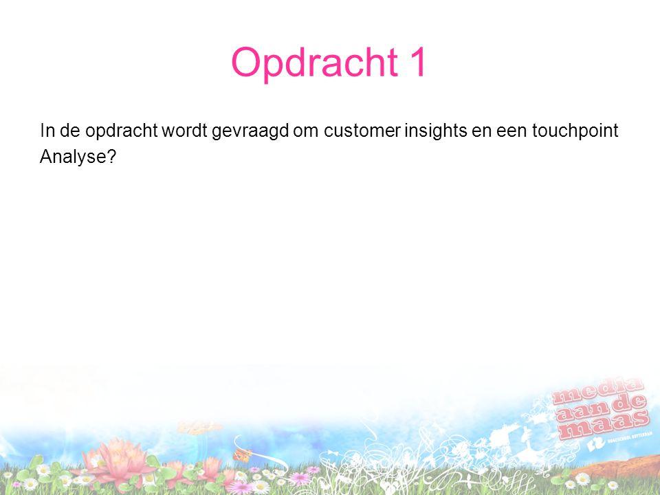 Opdracht 1 In de opdracht wordt gevraagd om customer insights en een touchpoint Analyse?