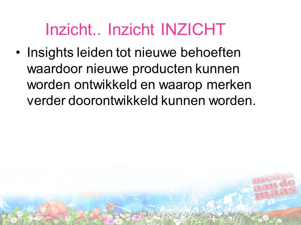 Inzicht.. Inzicht INZICHT Insights leiden tot nieuwe behoeften waardoor nieuwe producten kunnen worden ontwikkeld en waarop merken verder doorontwikke