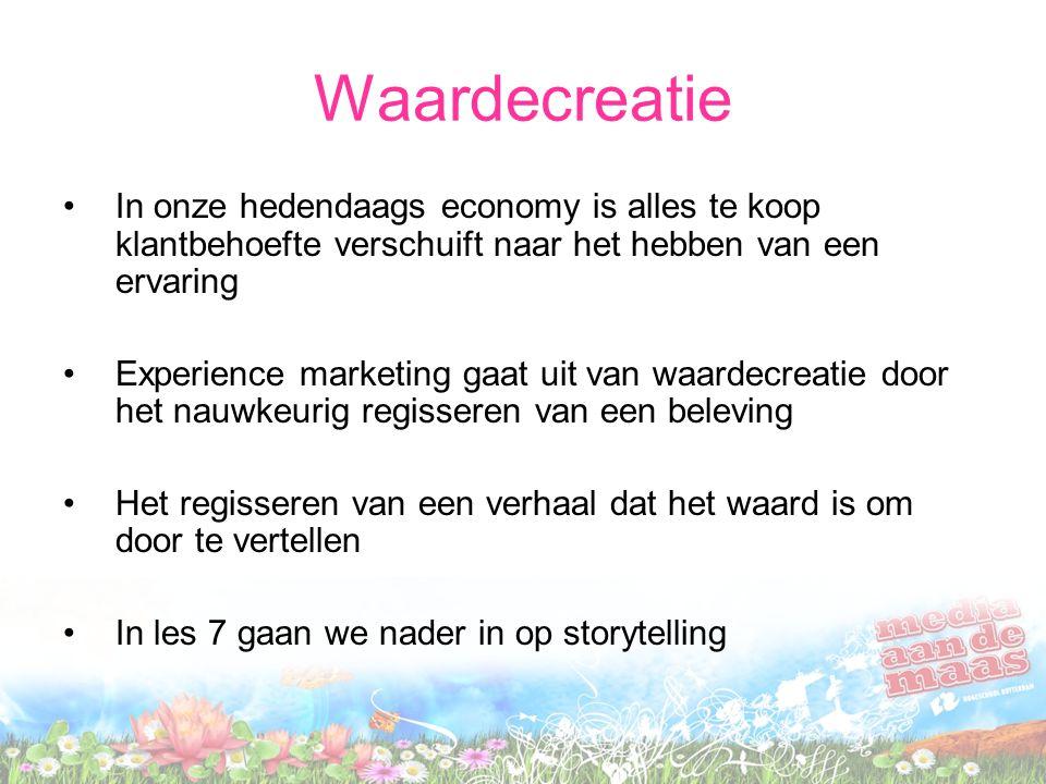 Waardecreatie In onze hedendaags economy is alles te koop klantbehoefte verschuift naar het hebben van een ervaring Experience marketing gaat uit van
