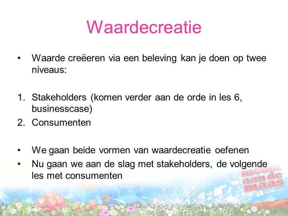 Waardecreatie Waarde creëeren via een beleving kan je doen op twee niveaus: 1.Stakeholders (komen verder aan de orde in les 6, businesscase) 2.Consume