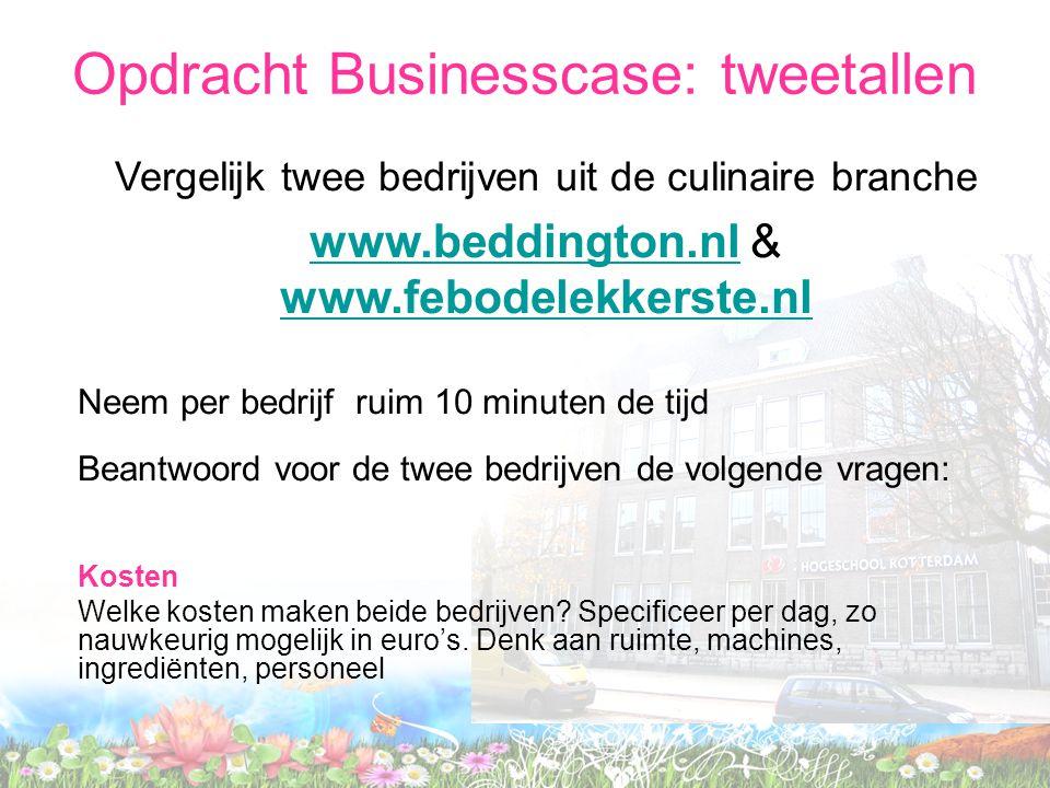 Vergelijk twee bedrijven uit de culinaire branche www.beddington.nlwww.beddington.nl & www.febodelekkerste.nl www.febodelekkerste.nl Neem per bedrijf ruim 10 minuten de tijd Beantwoord voor de twee bedrijven de volgende vragen: Kosten Welke kosten maken beide bedrijven.