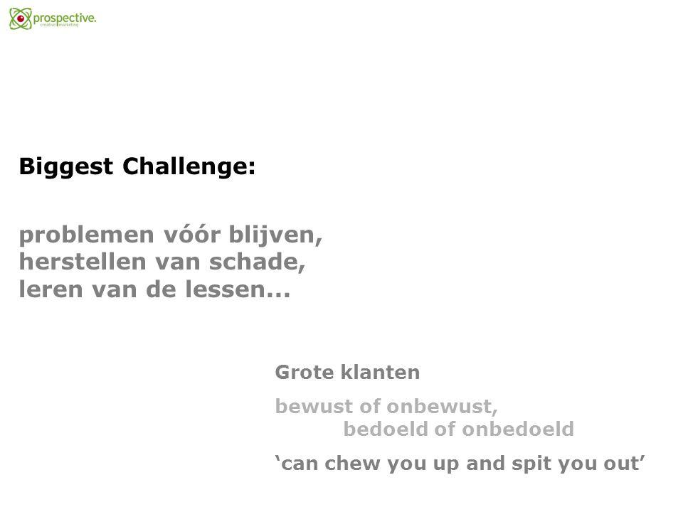Biggest Challenge: problemen vóór blijven, herstellen van schade, leren van de lessen...