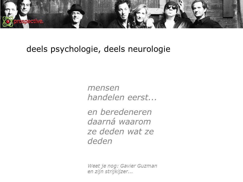 deels psychologie, deels neurologie mensen handelen eerst...