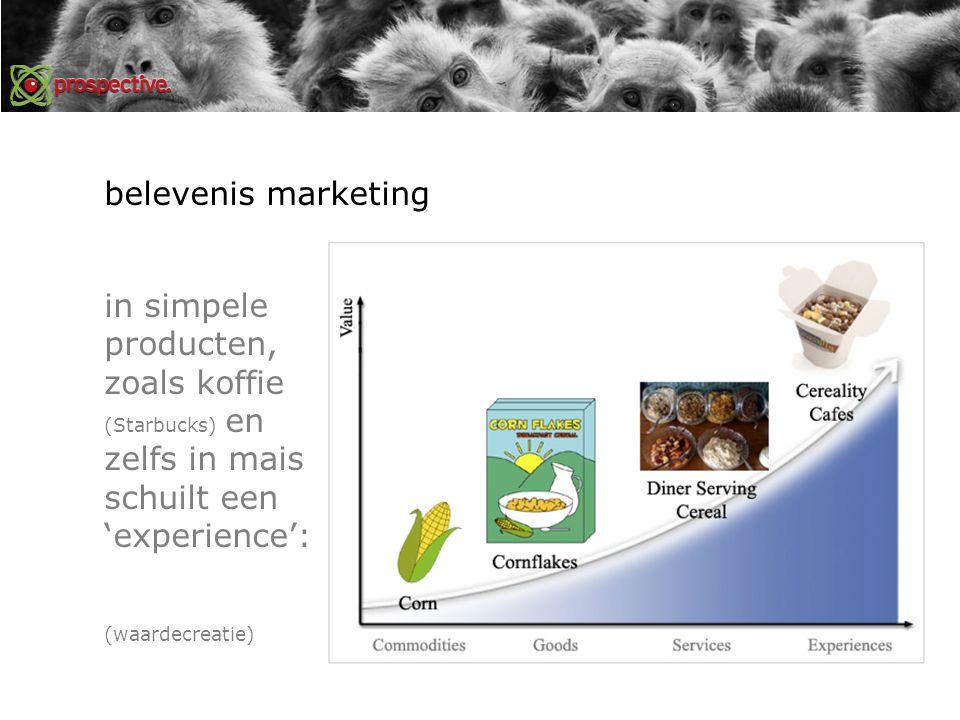 belevenis marketing in simpele producten, zoals koffie (Starbucks) en zelfs in mais schuilt een 'experience': (waardecreatie)