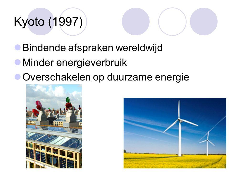 Kyoto (1997) Bindende afspraken wereldwijd Minder energieverbruik Overschakelen op duurzame energie