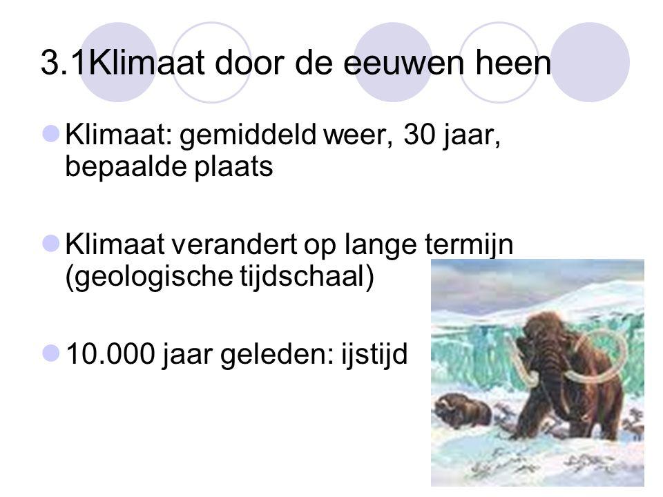 3.1Klimaat door de eeuwen heen Klimaat: gemiddeld weer, 30 jaar, bepaalde plaats Klimaat verandert op lange termijn (geologische tijdschaal) 10.000 ja