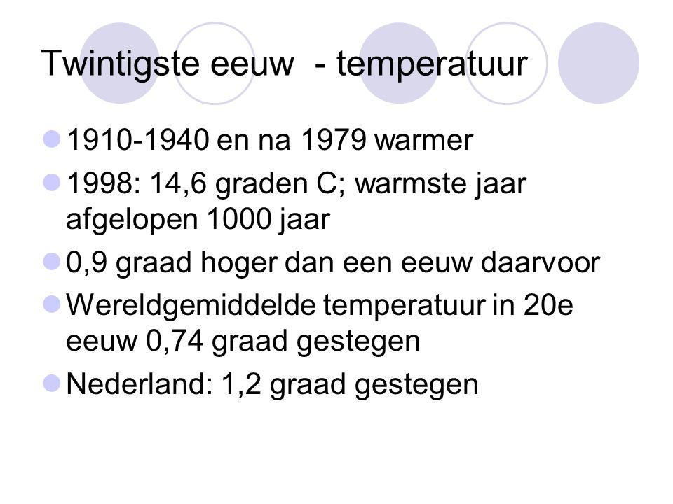 Twintigste eeuw - temperatuur 1910-1940 en na 1979 warmer 1998: 14,6 graden C; warmste jaar afgelopen 1000 jaar 0,9 graad hoger dan een eeuw daarvoor