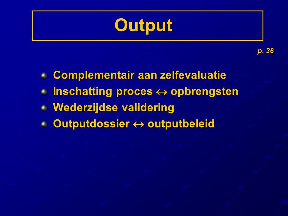 Complementair aan zelfevaluatie Complementair aan zelfevaluatie Inschatting proces  opbrengsten Inschatting proces  opbrengsten Wederzijdse valideri