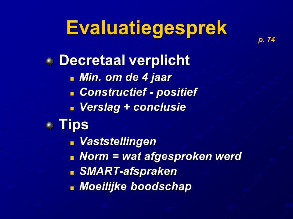 Evaluatiegesprek Decretaal verplicht Decretaal verplicht Min. om de 4 jaar Min. om de 4 jaar Constructief - positief Constructief - positief Verslag +