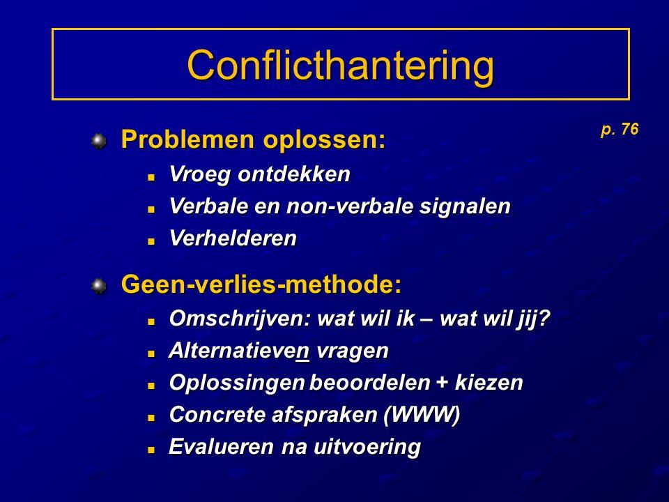 Conflicthantering Problemen oplossen: Problemen oplossen: Vroeg ontdekken Vroeg ontdekken Verbale en non-verbale signalen Verbale en non-verbale signa