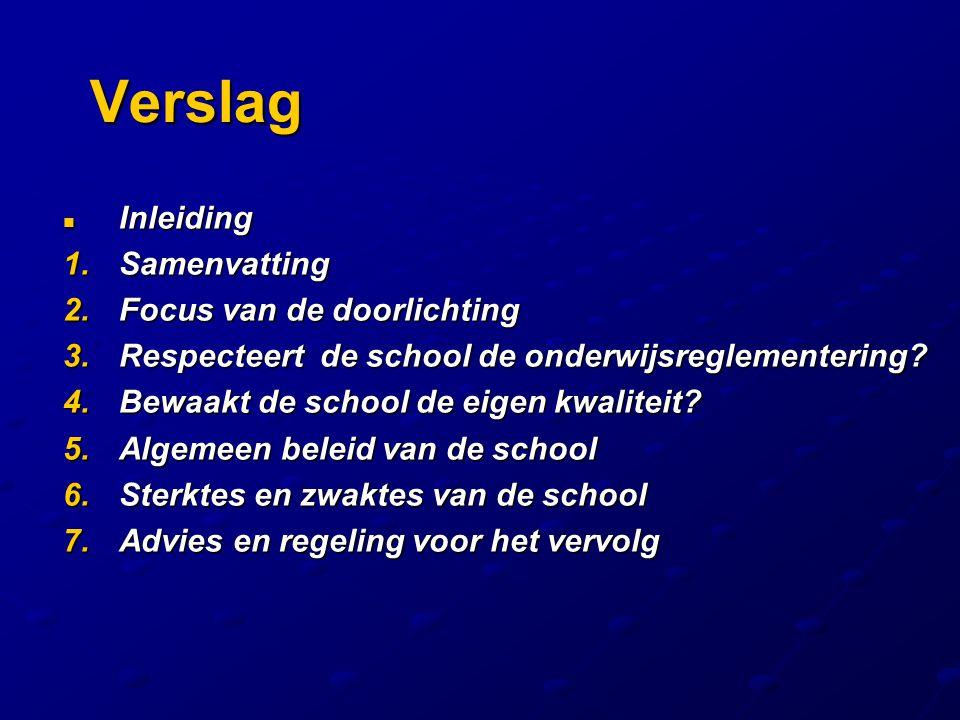Verslag Inleiding Inleiding 1.Samenvatting 2.Focus van de doorlichting 3.Respecteert de school de onderwijsreglementering? 4.Bewaakt de school de eige