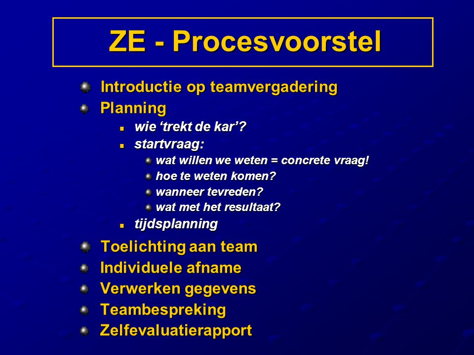 Introductie op teamvergadering Introductie op teamvergadering Planning Planning wie 'trekt de kar'? wie 'trekt de kar'? startvraag: startvraag: wat wi