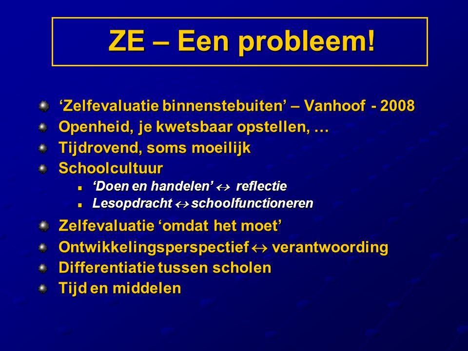 'Zelfevaluatie binnenstebuiten' – Vanhoof - 2008 'Zelfevaluatie binnenstebuiten' – Vanhoof - 2008 Openheid, je kwetsbaar opstellen, … Openheid, je kwe