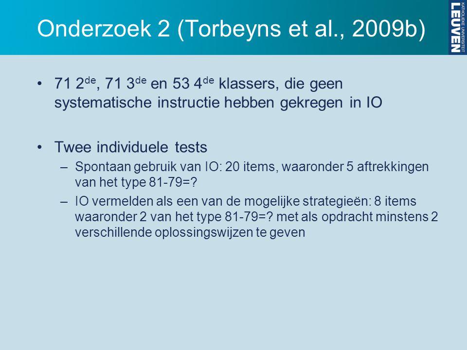 Onderzoek 2 (Torbeyns et al., 2009b) 71 2 de, 71 3 de en 53 4 de klassers, die geen systematische instructie hebben gekregen in IO Twee individuele te