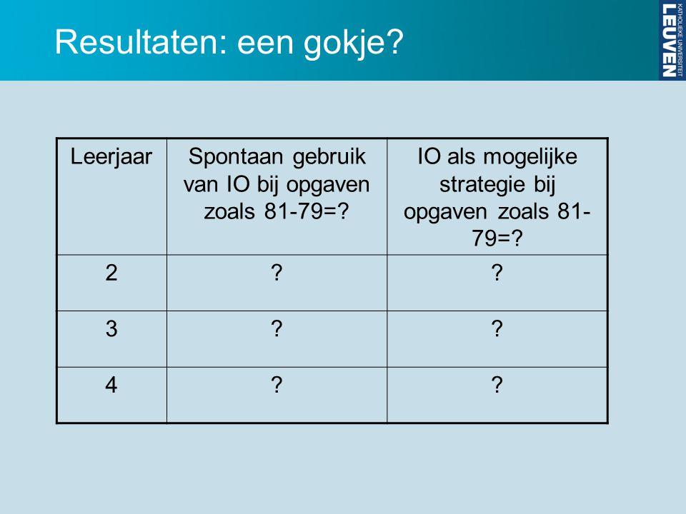 LeerjaarSpontaan gebruik van IO bij opgaven zoals 81-79=? IO als mogelijke strategie bij opgaven zoals 81- 79=? 2?? 3?? 4?? Resultaten: een gokje?