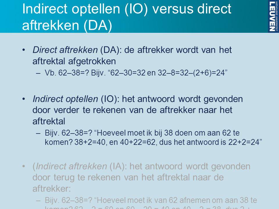 """Indirect optellen (IO) versus direct aftrekken (DA) Direct aftrekken (DA): de aftrekker wordt van het aftrektal afgetrokken –Vb. 62–38=? Bijv. """"62–30="""