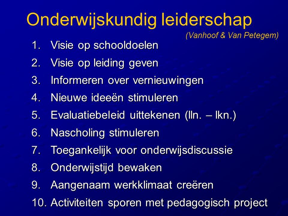 Onderwijskundig leiderschap 1.Visie op schooldoelen 2.Visie op leiding geven 3.Informeren over vernieuwingen 4.Nieuwe ideeën stimuleren 5.Evaluatiebel