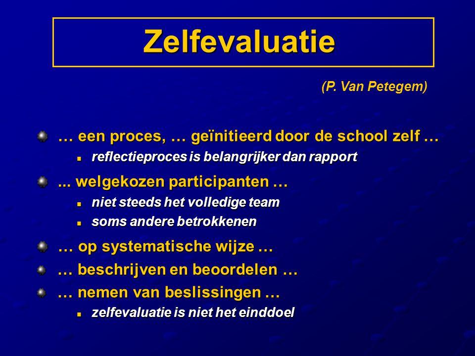 Zelfevaluatie … een proces, … geïnitieerd door de school zelf … … een proces, … geïnitieerd door de school zelf … reflectieproces is belangrijker dan