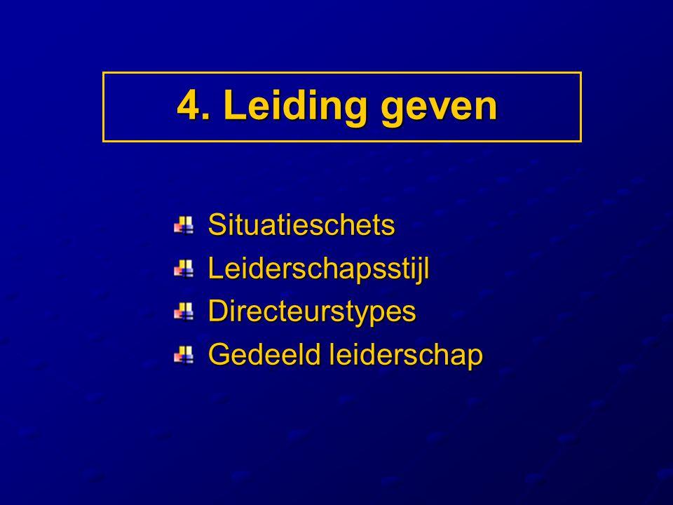 4. Leiding geven Situatieschets Situatieschets Leiderschapsstijl Leiderschapsstijl Directeurstypes Directeurstypes Gedeeld leiderschap Gedeeld leiders