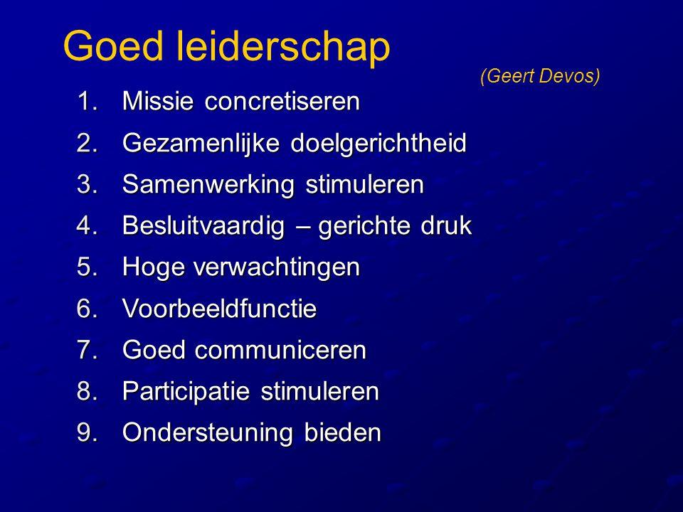 Goed leiderschap 1.Missie concretiseren 2.Gezamenlijke doelgerichtheid 3.Samenwerking stimuleren 4.Besluitvaardig – gerichte druk 5.Hoge verwachtingen