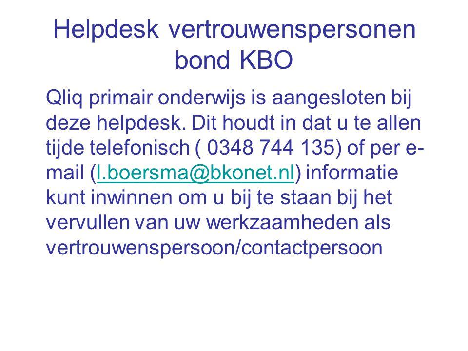 Helpdesk vertrouwenspersonen bond KBO Qliq primair onderwijs is aangesloten bij deze helpdesk. Dit houdt in dat u te allen tijde telefonisch ( 0348 74