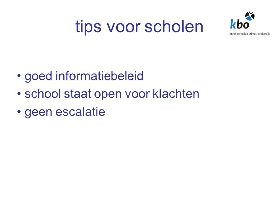 tips voor scholen goed informatiebeleid school staat open voor klachten geen escalatie