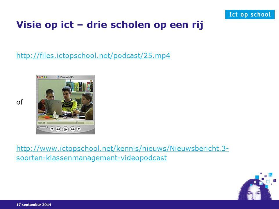 17 september 2014 Visie op ict – drie scholen op een rij http://files.ictopschool.net/podcast/25.mp4 of http://www.ictopschool.net/kennis/nieuws/Nieuwsbericht.3- soorten-klassenmanagement-videopodcast