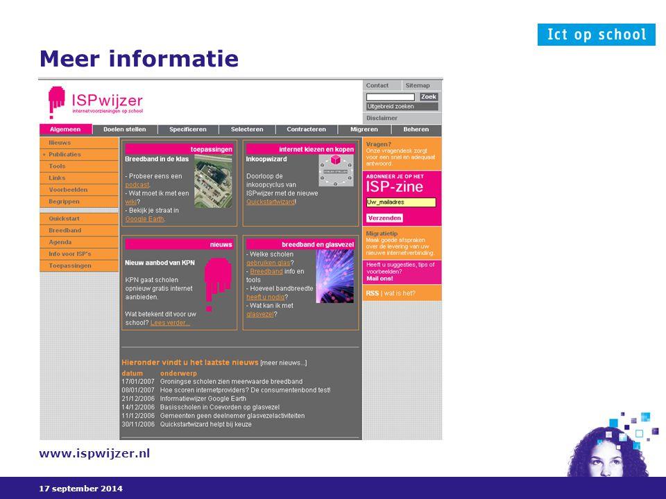 17 september 2014 Meer informatie www.ispwijzer.nl