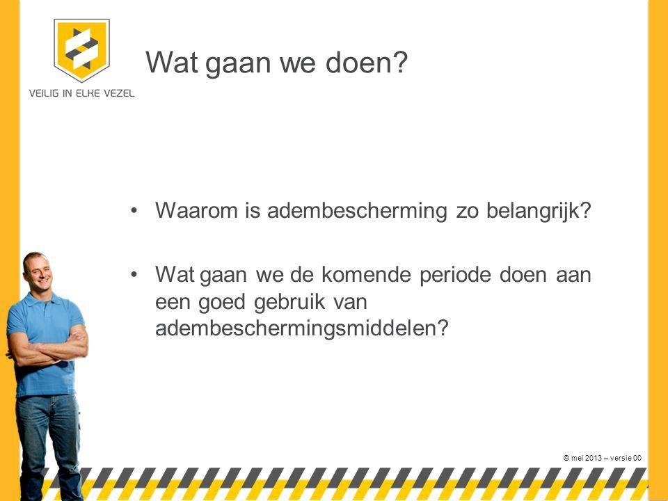 © mei 2013 – versie 00 Wat gaan we doen. Waarom is adembescherming zo belangrijk.