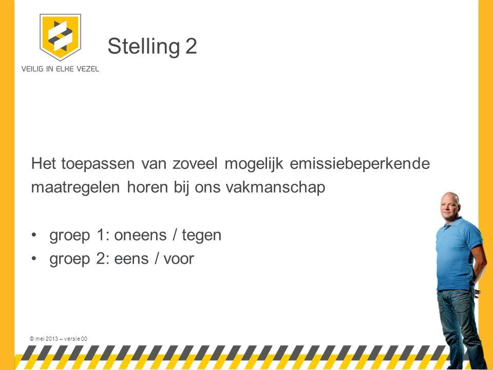 © mei 2013 – versie 00 Stelling 2 Het toepassen van zoveel mogelijk emissiebeperkende maatregelen horen bij ons vakmanschap groep 1: oneens / tegen gr
