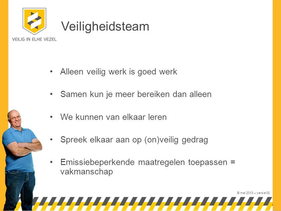 © mei 2013 – versie 00 Veiligheidsteam Alleen veilig werk is goed werk Samen kun je meer bereiken dan alleen We kunnen van elkaar leren Spreek elkaar