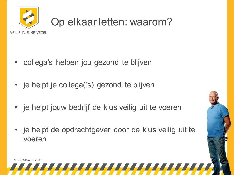 © mei 2013 – versie 00 Op elkaar letten: waarom.