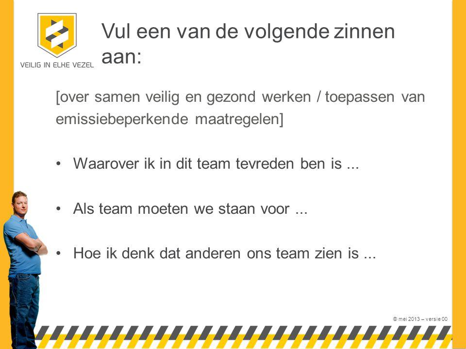 © mei 2013 – versie 00 Vul een van de volgende zinnen aan: [over samen veilig en gezond werken / toepassen van emissiebeperkende maatregelen] Waarover ik in dit team tevreden ben is...