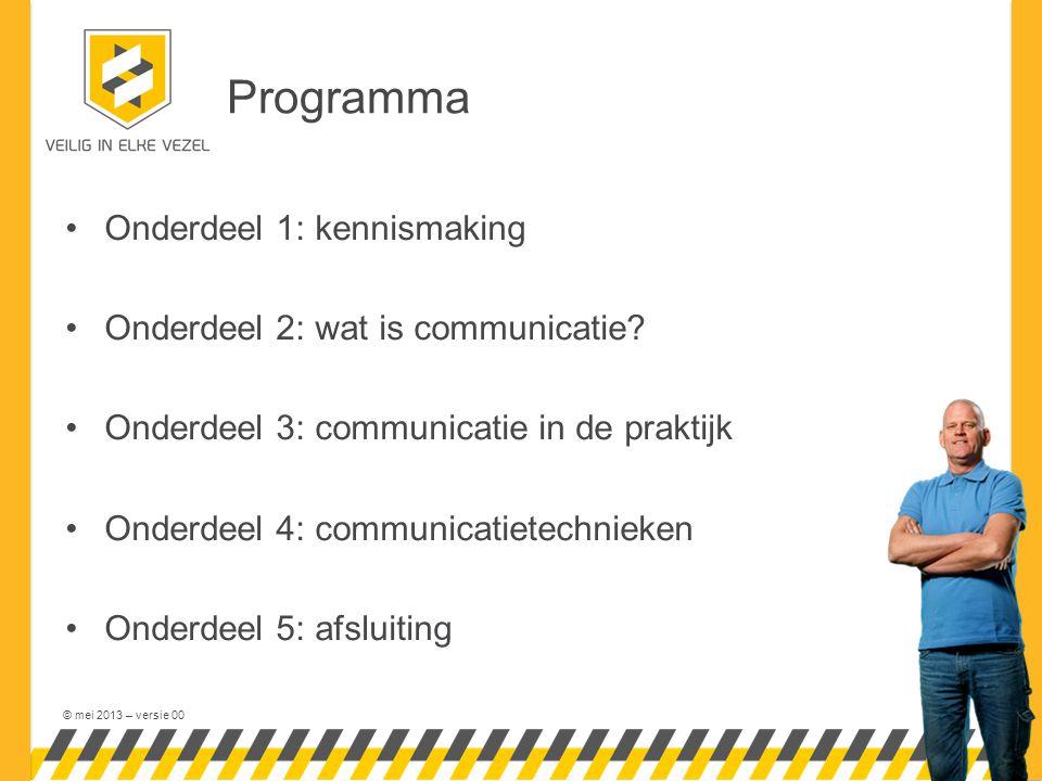 © mei 2013 – versie 00 Programma Onderdeel 1: kennismaking Onderdeel 2: wat is communicatie.