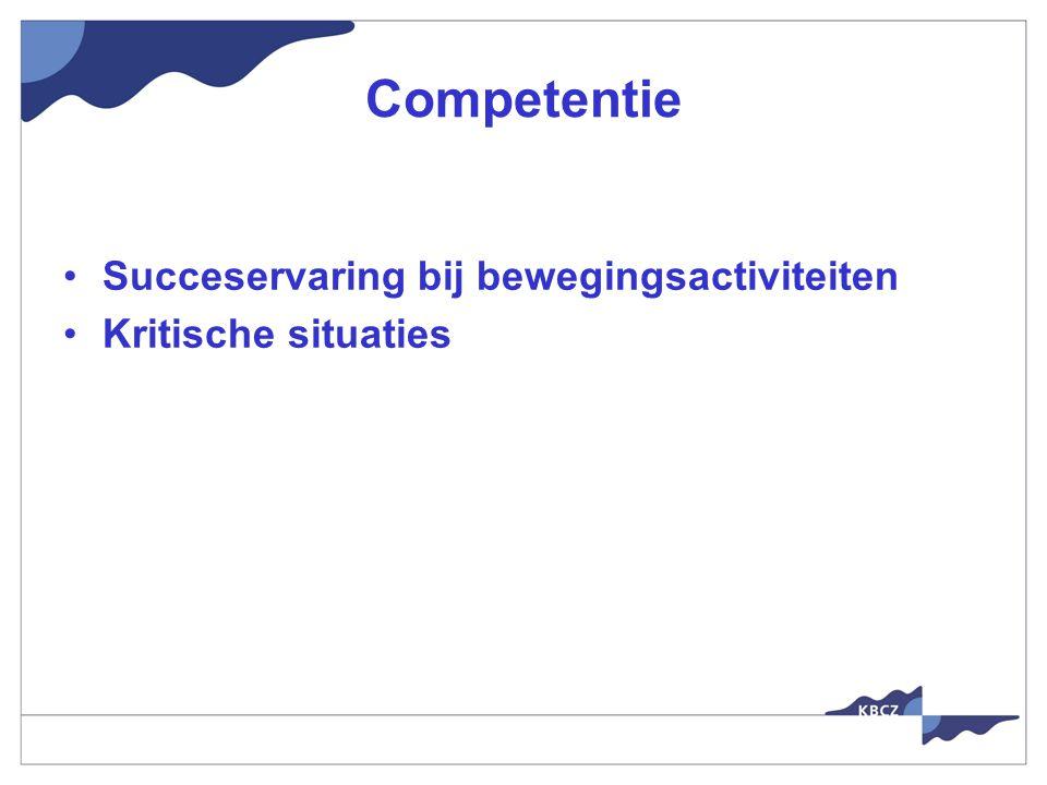 Competentie Succeservaring bij bewegingsactiviteiten Kritische situaties