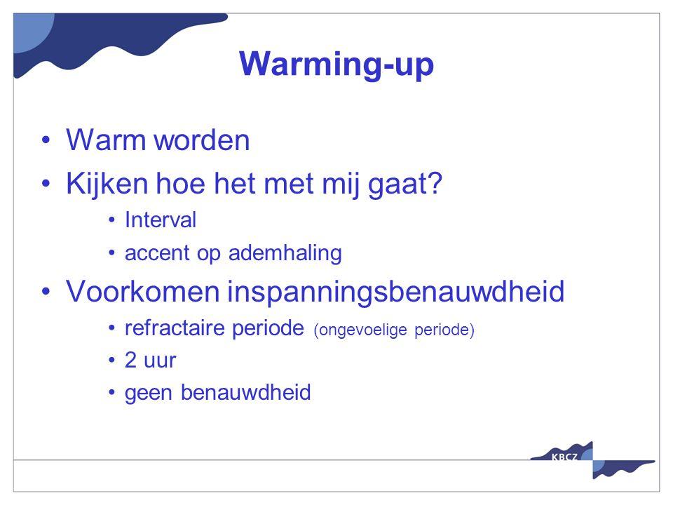 Warming-up Warm worden Kijken hoe het met mij gaat.