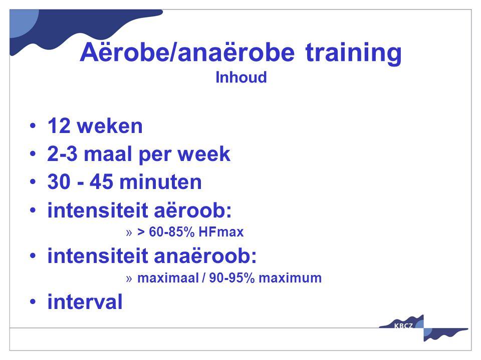 Aërobe/anaërobe training Inhoud 12 weken 2-3 maal per week 30 - 45 minuten intensiteit aëroob: »> 60-85% HFmax intensiteit anaëroob: »maximaal / 90-95% maximum interval