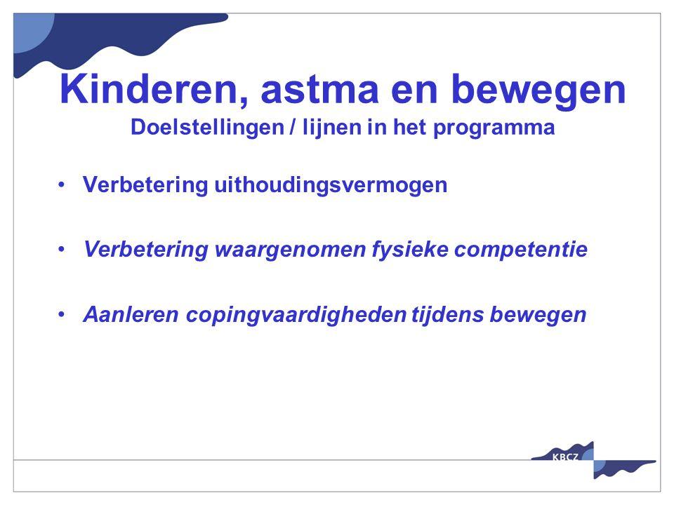 Kinderen, astma en bewegen Doelstellingen / lijnen in het programma Verbetering uithoudingsvermogen Verbetering waargenomen fysieke competentie Aanleren copingvaardigheden tijdens bewegen