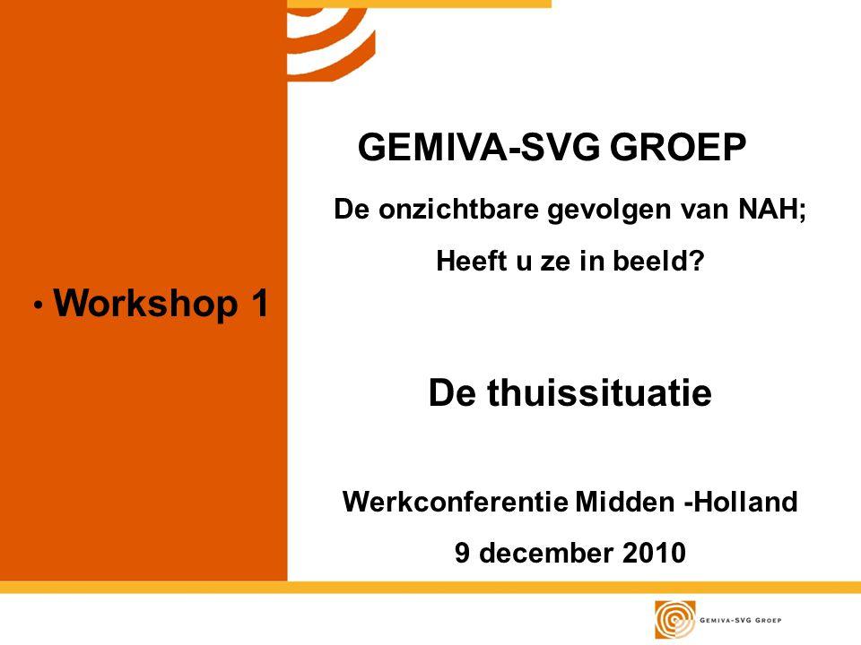 Workshop 1 GEMIVA-SVG GROEP De onzichtbare gevolgen van NAH; Heeft u ze in beeld.