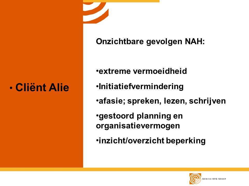 Cliënt Alie Onzichtbare gevolgen NAH: extreme vermoeidheid Initiatiefvermindering afasie; spreken, lezen, schrijven gestoord planning en organisatievermogen inzicht/overzicht beperking