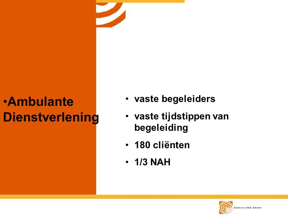 vaste begeleiders vaste tijdstippen van begeleiding 180 cliënten 1/3 NAH Ambulante Dienstverlening
