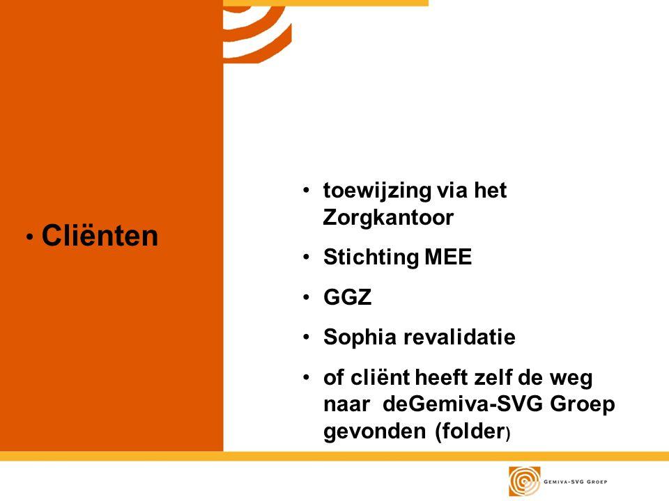 Cliënten toewijzing via het Zorgkantoor Stichting MEE GGZ Sophia revalidatie of cliënt heeft zelf de weg naar deGemiva-SVG Groep gevonden (folder )