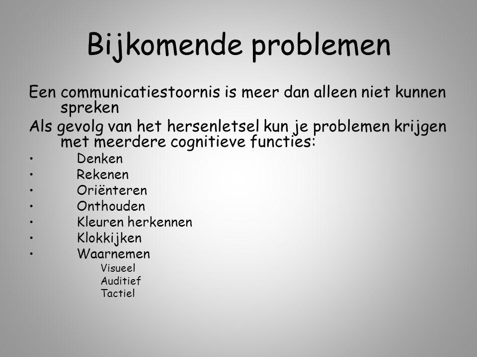 Een communicatiestoornis is meer dan alleen niet kunnen spreken Als gevolg van het hersenletsel kun je problemen krijgen met meerdere cognitieve funct
