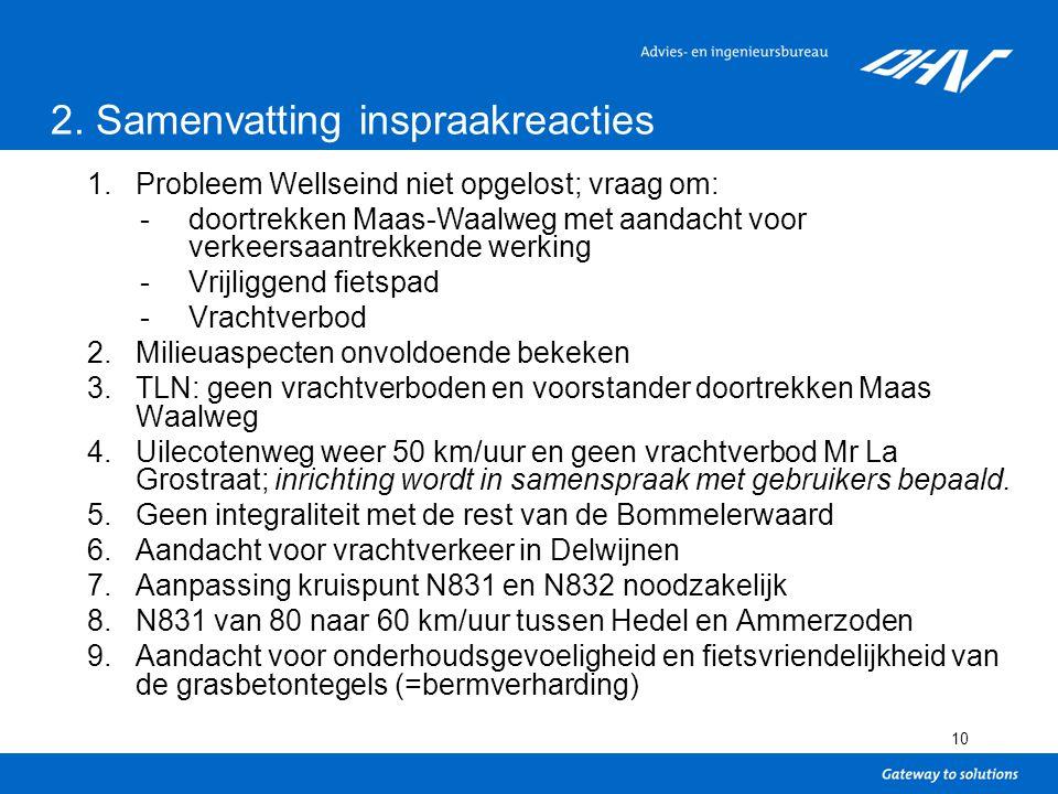 10 1.Probleem Wellseind niet opgelost; vraag om: -doortrekken Maas-Waalweg met aandacht voor verkeersaantrekkende werking -Vrijliggend fietspad -Vrachtverbod 2.Milieuaspecten onvoldoende bekeken 3.TLN: geen vrachtverboden en voorstander doortrekken Maas Waalweg 4.Uilecotenweg weer 50 km/uur en geen vrachtverbod Mr La Grostraat; inrichting wordt in samenspraak met gebruikers bepaald.