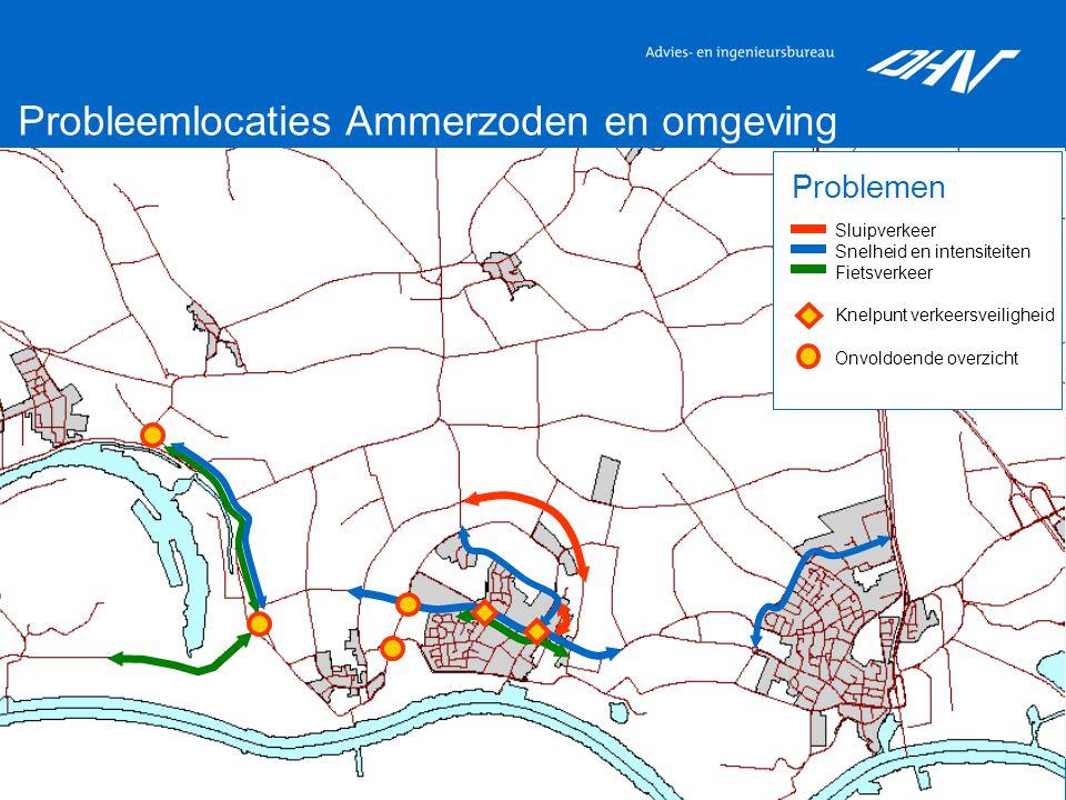 3 Probleemlocaties Ammerzoden en omgeving Sluipverkeer Snelheid en intensiteiten Fietsverkeer Knelpunt verkeersveiligheid Onvoldoende overzicht Problemen