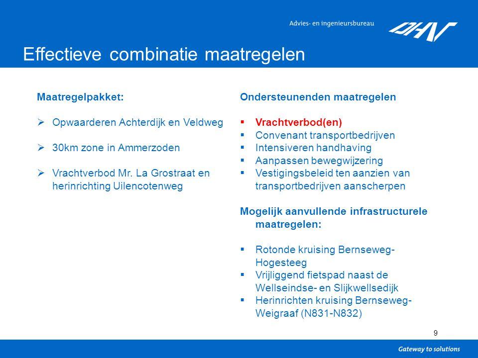 9 Effectieve combinatie maatregelen Maatregelpakket:  Opwaarderen Achterdijk en Veldweg  30km zone in Ammerzoden  Vrachtverbod Mr.