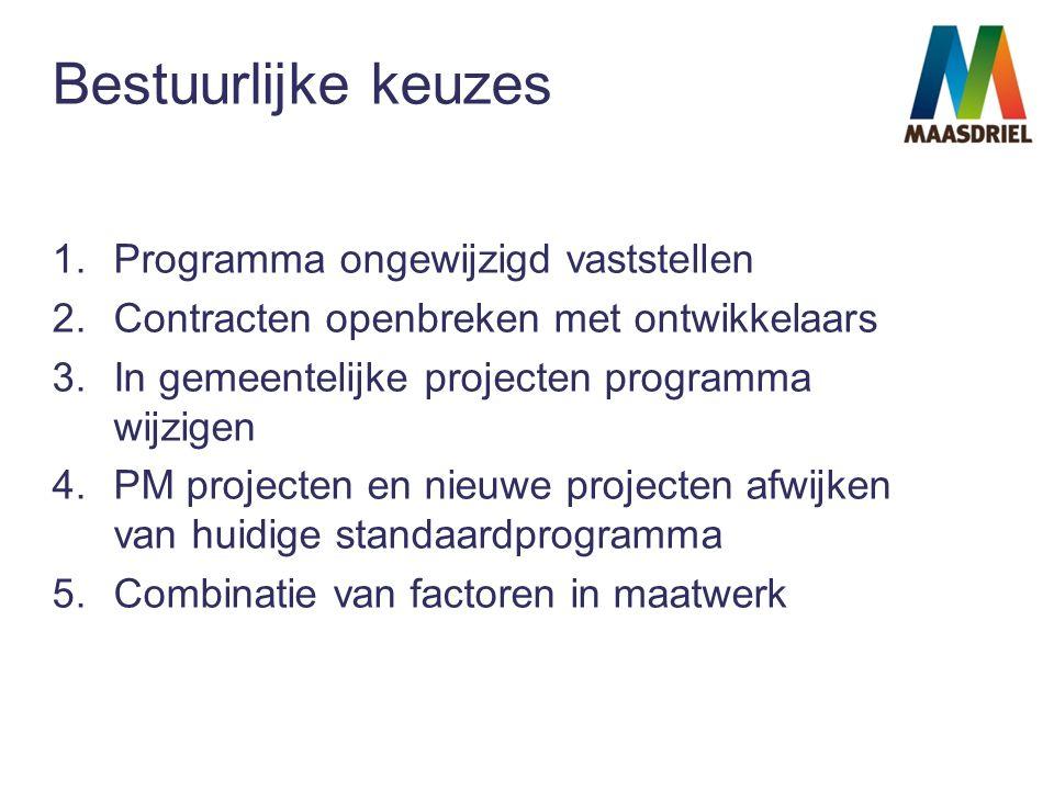 Bestuurlijke keuzes 1.Programma ongewijzigd vaststellen 2.Contracten openbreken met ontwikkelaars 3.In gemeentelijke projecten programma wijzigen 4.PM projecten en nieuwe projecten afwijken van huidige standaardprogramma 5.Combinatie van factoren in maatwerk