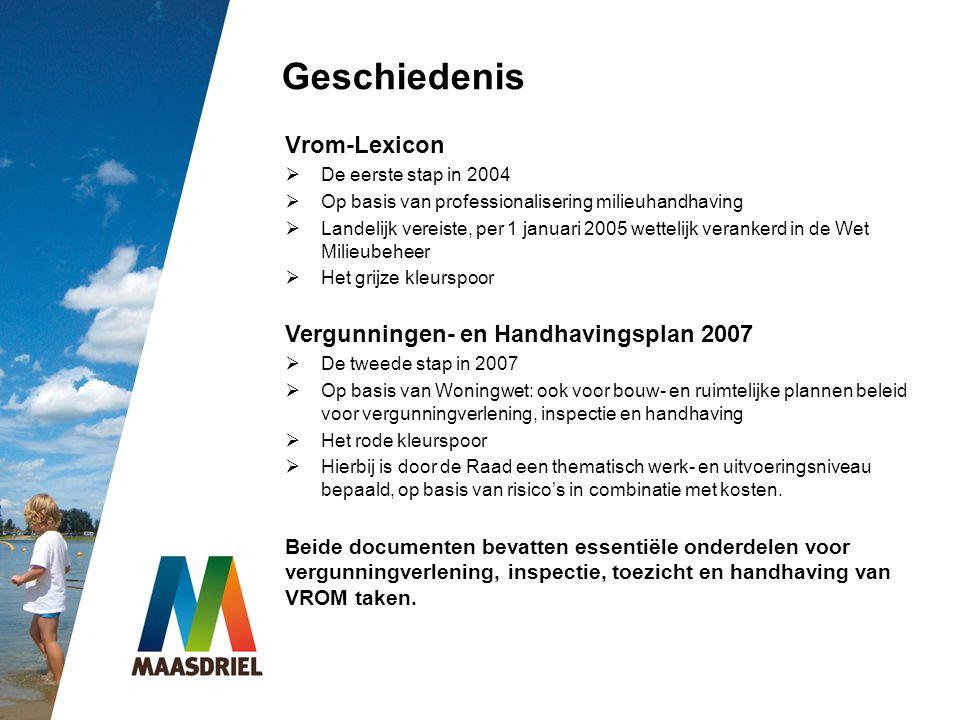 Geschiedenis Vrom-Lexicon  De eerste stap in 2004  Op basis van professionalisering milieuhandhaving  Landelijk vereiste, per 1 januari 2005 wettel