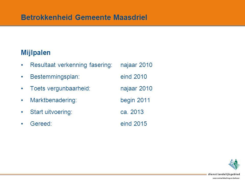 Betrokkenheid Gemeente Maasdriel Mijlpalen Resultaat verkenning fasering:najaar 2010 Bestemmingsplan:eind 2010 Toets vergunbaarheid:najaar 2010 Marktbenadering:begin 2011 Start uitvoering:ca.