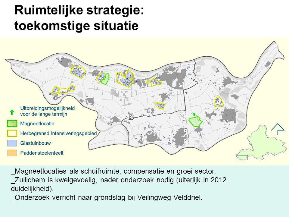 Ruimtelijke strategie: toekomstige situatie _Magneetlocaties als schuifruimte, compensatie en groei sector. _Zuilichem is kwelgevoelig, nader onderzoe